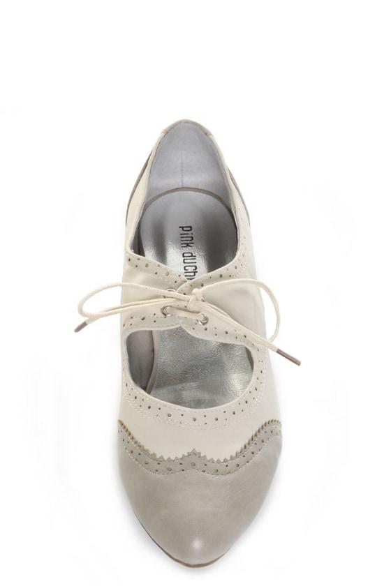 Pink Duchess Bristel 1 Grey & Beige Lil' Miss Oxford Flats