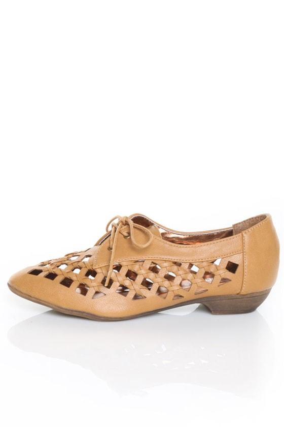 Pink Duchess Bristel 2 Camel Lattice Weave Oxford Flats