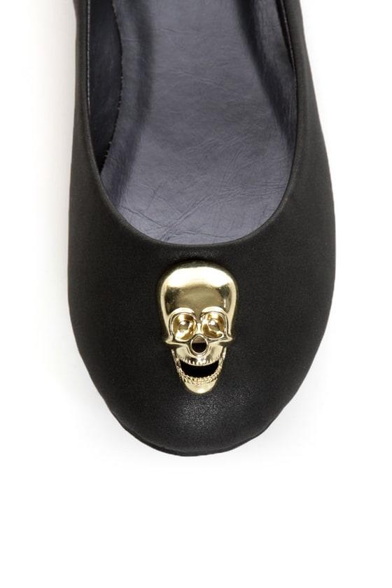 Promise Barbosa Black Skull Charm Ballet Flats