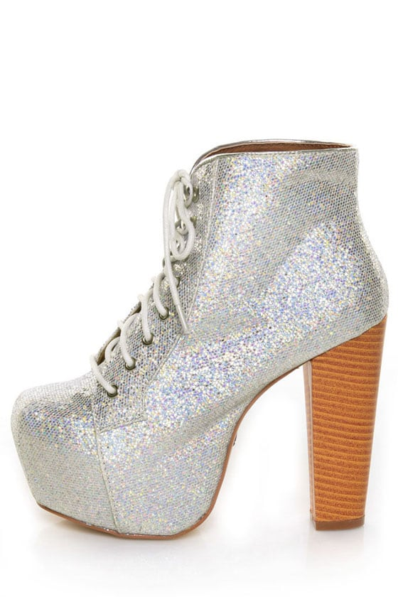 Promise Beacon Silver Glitter Hologram Lace-Up Platform Booties