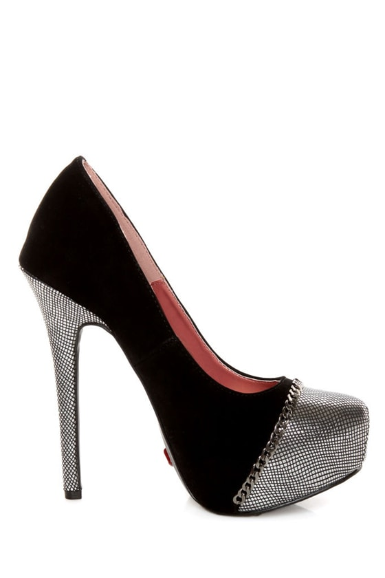 Promise Marino Black Metallic Cap-Toe Platform Pumps