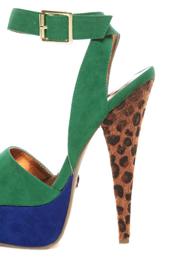 Promise Carlton Green Color Block Leopard Print Platform Heels at Lulus.com!