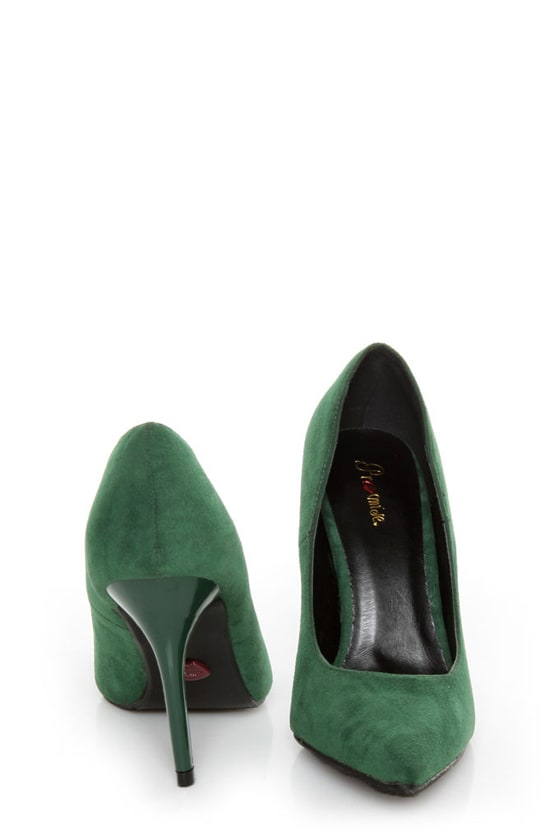 Promise Crescent Hunter Green Suede Pointed Pumps at Lulus.com!