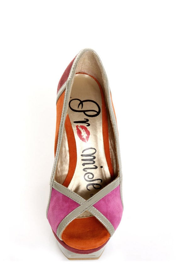 Promise Davinci Orange Multi Color Block Platform Pumps