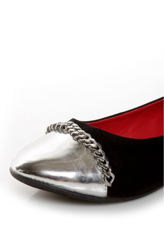 Promise Emporium Black & Silver Cap-Toe Ballet Flats