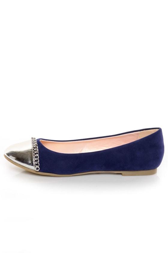 Promise Emporium Blue & Silver Cap-Toe Ballet Flats