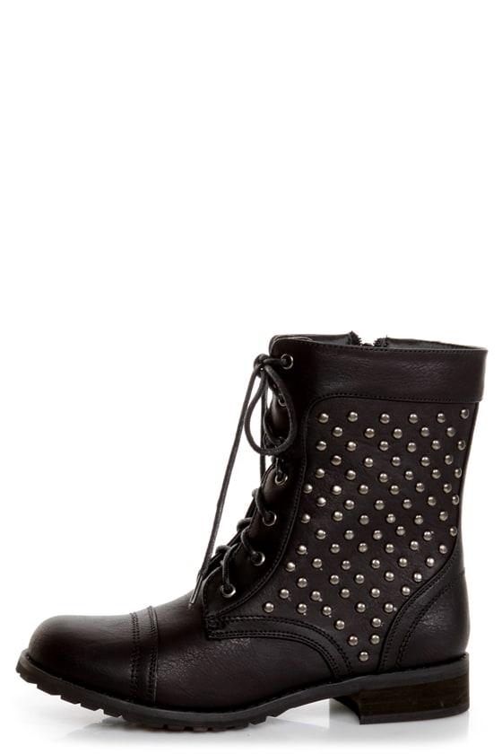Promise Faith Black Studded Lace-Up Combat Boots