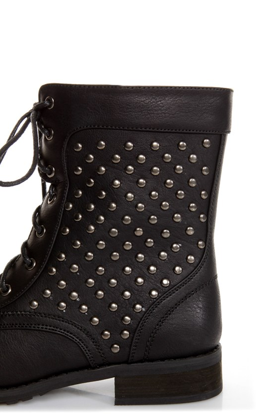 Promise Faith Black Studded Lace-Up Combat Boots