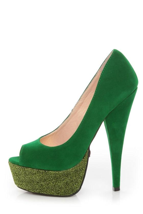 82c450e1d4c6 Promise Gama Jade Green Glitter Platform Pumps - $35.00