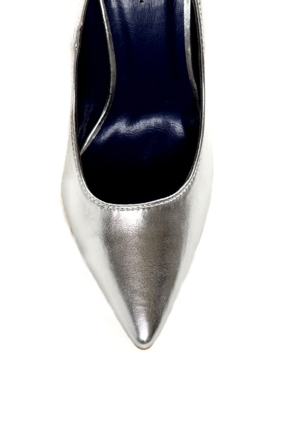 Promise Ivana Silver Metallic Pointed Pumps at Lulus.com!