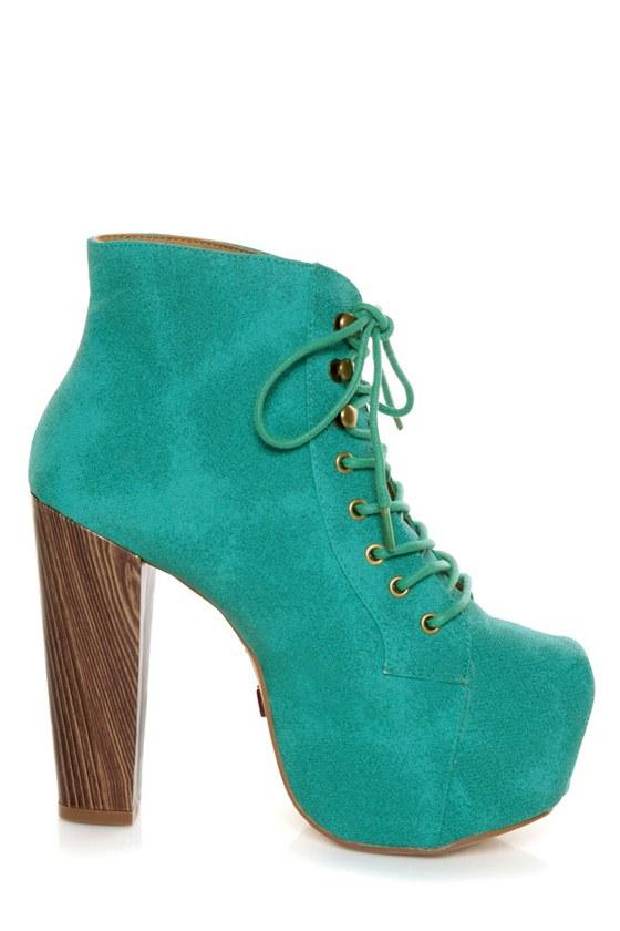 Promise Magi Green Teal Denim Lace-Up Platform Ankle Boots