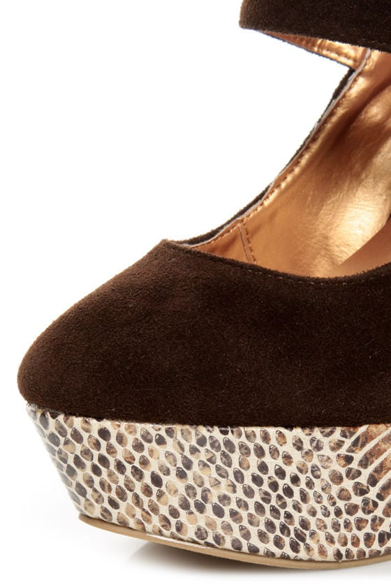 Promise Marciana Chocolate Snake Print Mary Jane Platform Pumps at Lulus.com!