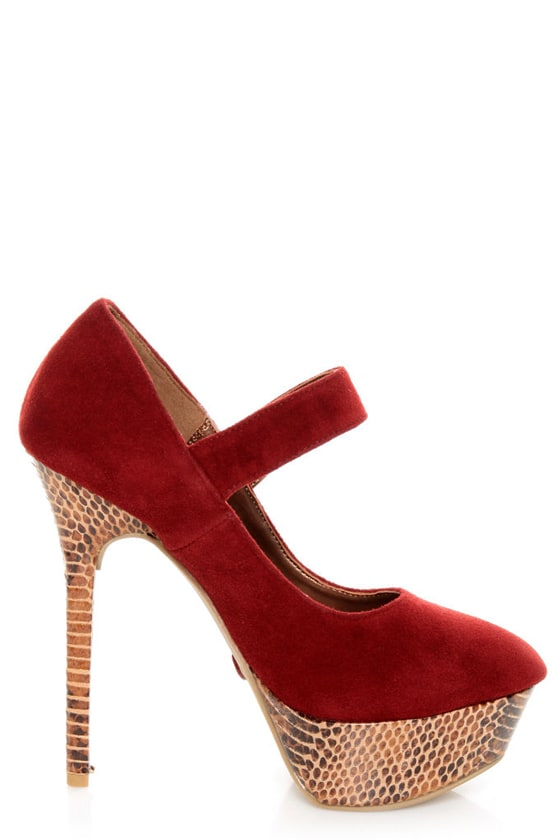Promise Marciana Wine Red Snake Print Mary Jane Platform Pumps