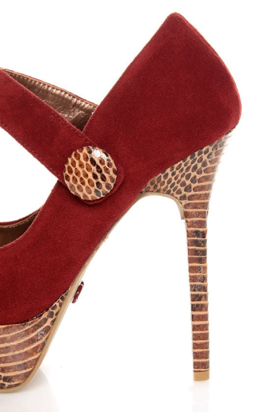 Promise Marciana Wine Red Snake Print Mary Jane Platform Pumps at Lulus.com!