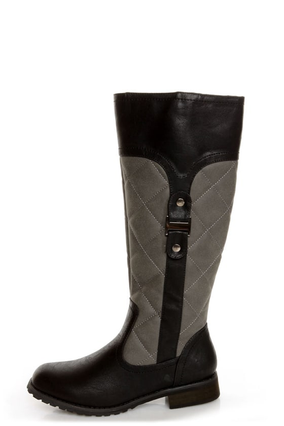 Promise Mattie Black and Grey Quilted Riding Boots - $53.00