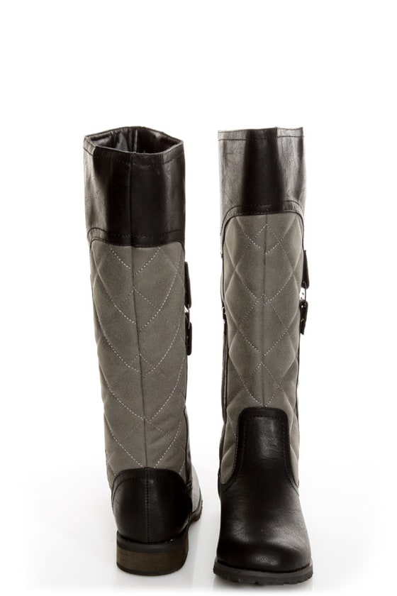 Promise Mattie Black and Grey Quilted Riding Boots at Lulus.com!