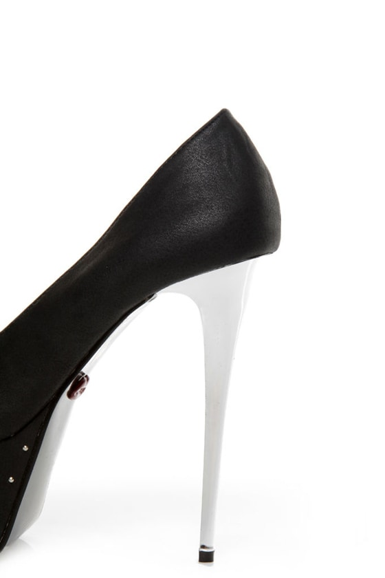 Promise Monsta Black Studded Party Platform Pumps at Lulus.com!