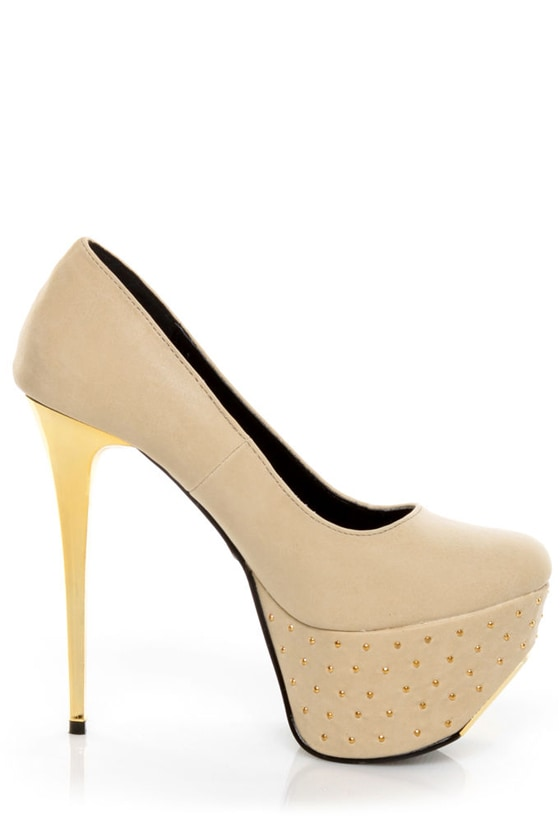 Promise Monsta Nude Studded Party Platform Pumps
