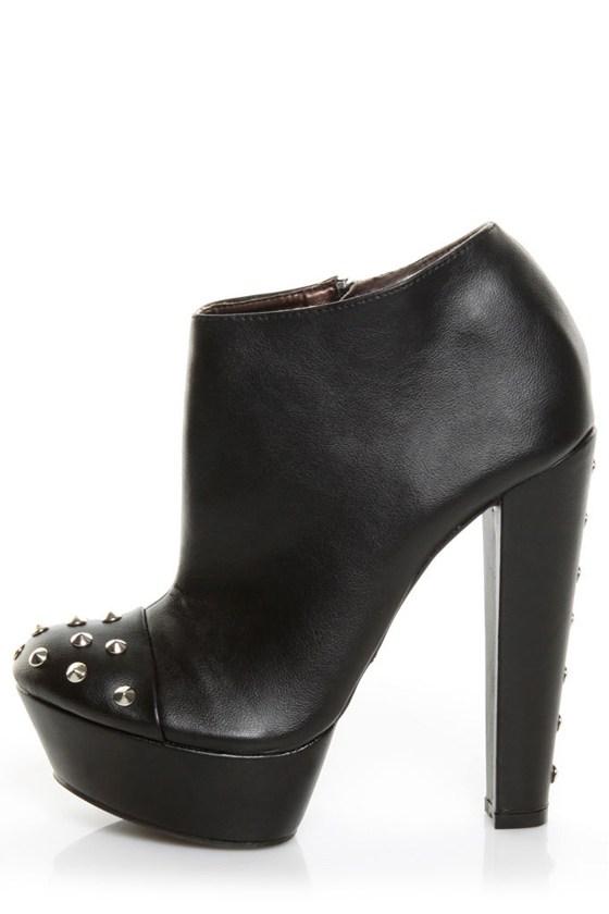 Promise Poky Black Studded Platform Ankle Booties