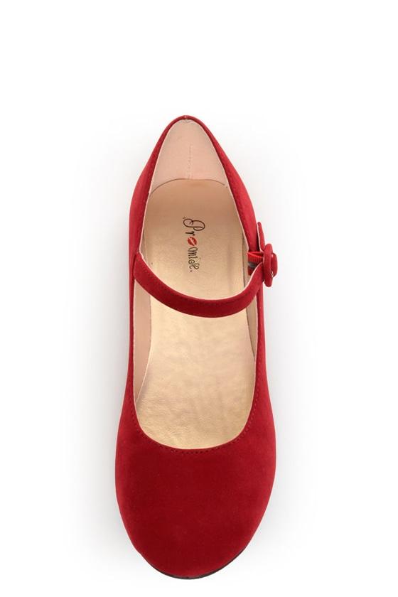 Promise Sakova Red Mary Jane Ballet Flats