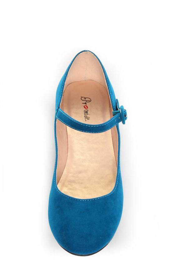 Promise Sakova Teal Blue Mary Jane Ballet Flats