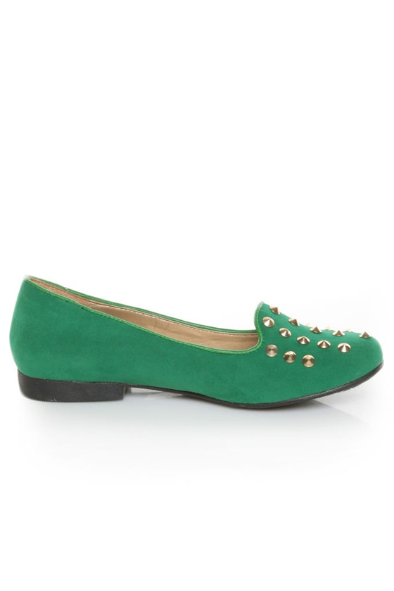 Promise Zadina Green Suede Studded Smoking Slipper Flats at Lulus.com!