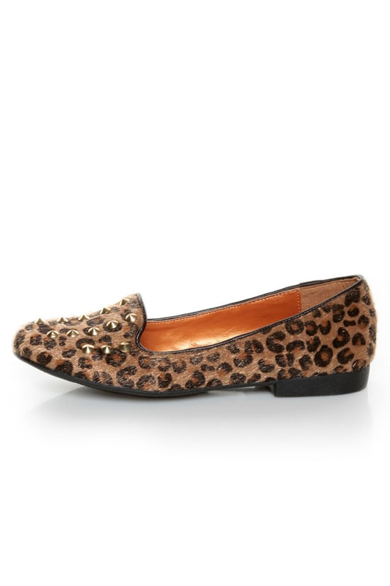 Promise Zadina Leopard Pony Fur Studded Smoking Slipper Flats at Lulus.com!