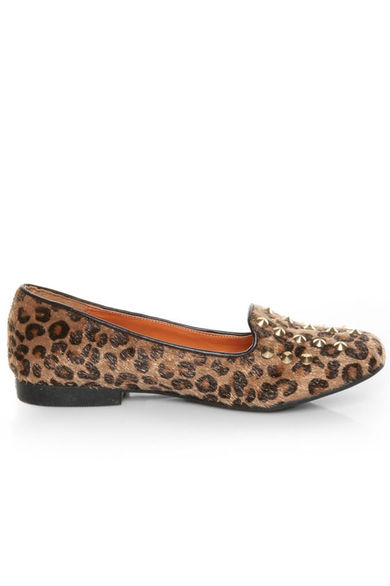 Promise Zadina Leopard Pony Fur Studded Smoking Slipper Flats