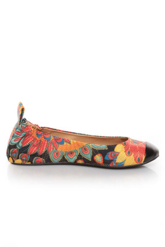 Penny Loves Kenny Nelly Black Multi Sparkle Print Cap Toe Flats at Lulus.com!