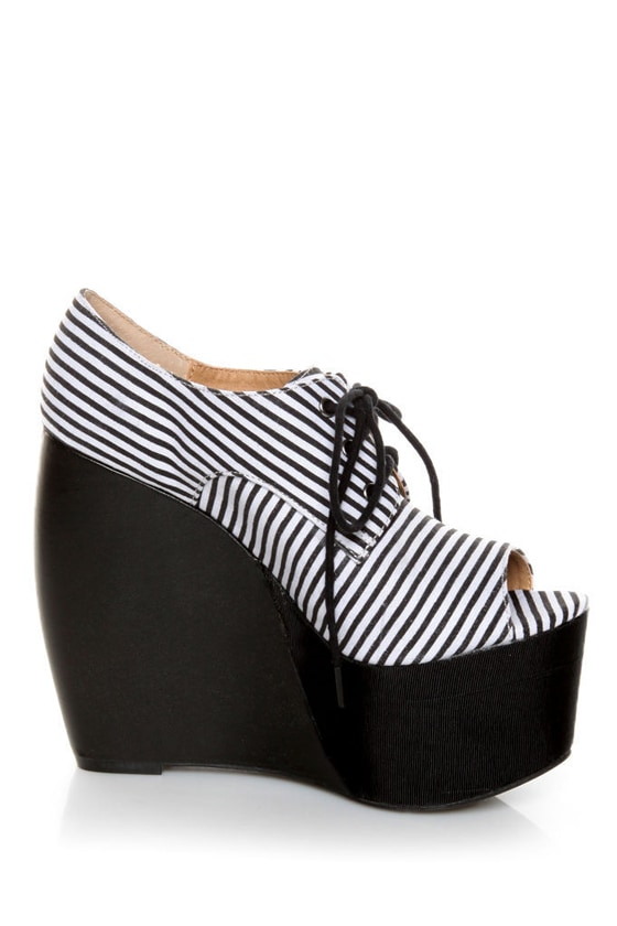 Penny Loves Kenny Niley Black and White Striped Oxford Platforms
