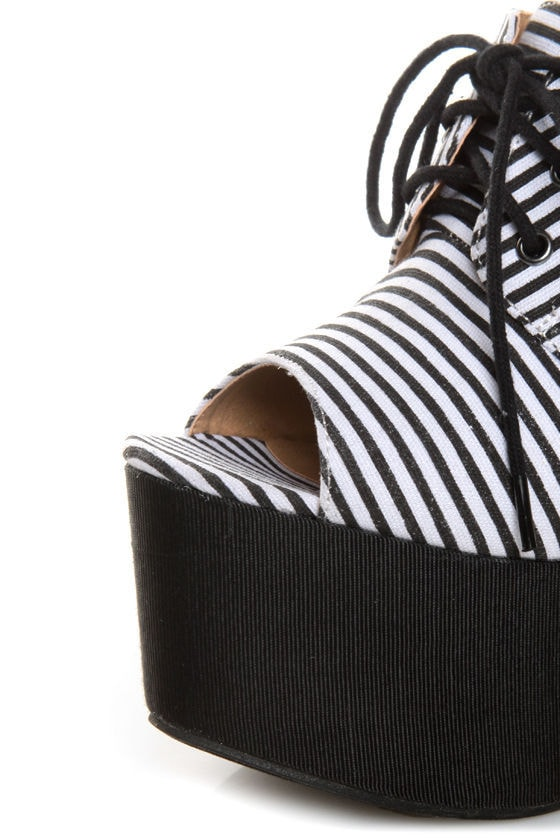 Penny Loves Kenny Niley Black and White Striped Oxford Platforms at Lulus.com!
