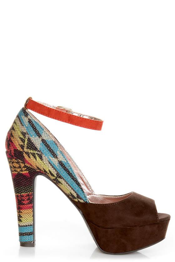 Pink & Pepper Leilla Brown Multi Southwest Print Platform Heels