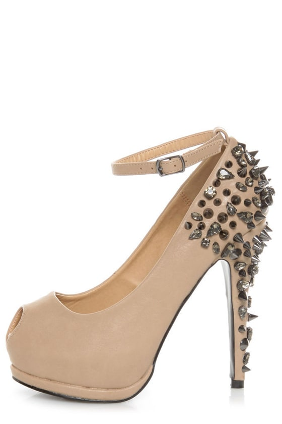 Privileged Arrow Tan Spiked and 'Stoned Platform Pumps at Lulus.com!