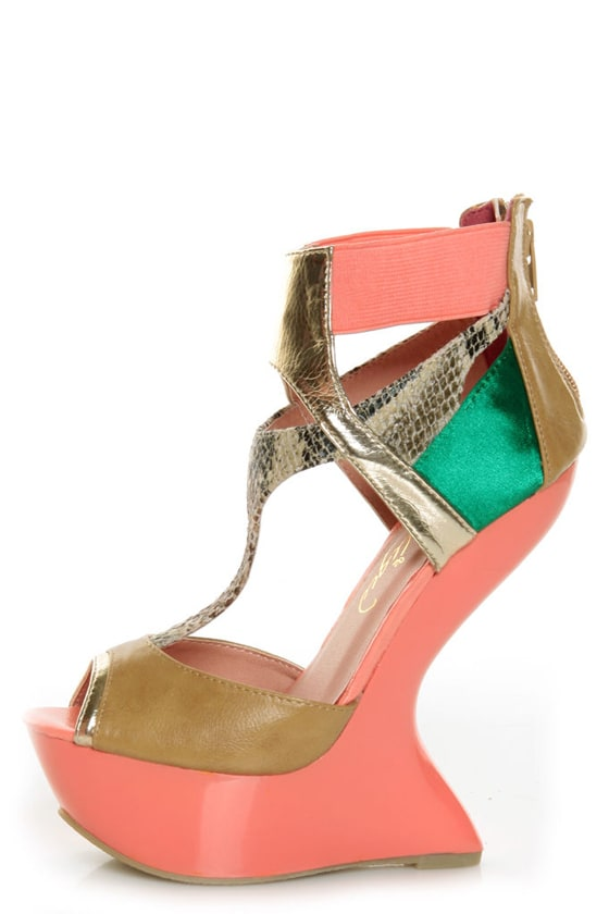Privileged Blithe Coral and Tan Texture Block Heelless Platforms