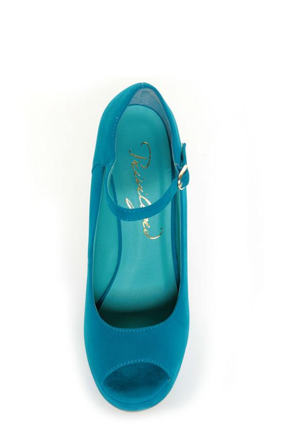 Privileged Dexter Teal Peep Toe Heelless Platforms