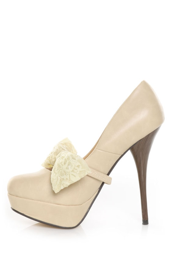 Privileged Doris Nude Lace Bow Tie Platform Pumps