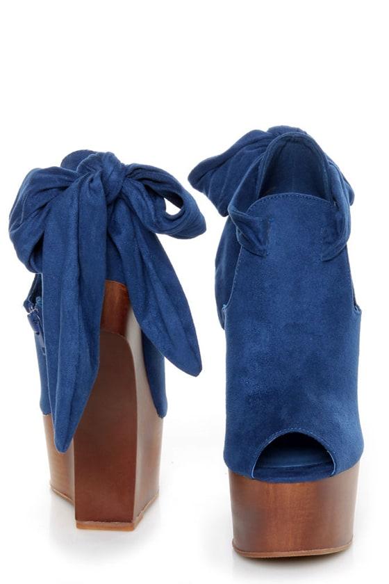 Privileged Ferra Royal Blue Tie-Back Shootie Heelless Platforms