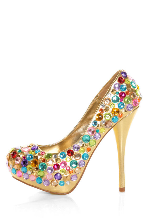 Privileged Gems Gold Jewel-bilee Platform Pumps