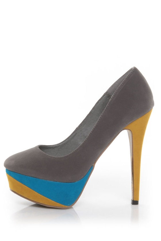 Privileged Kylie Grey Color Block Platform Pumps