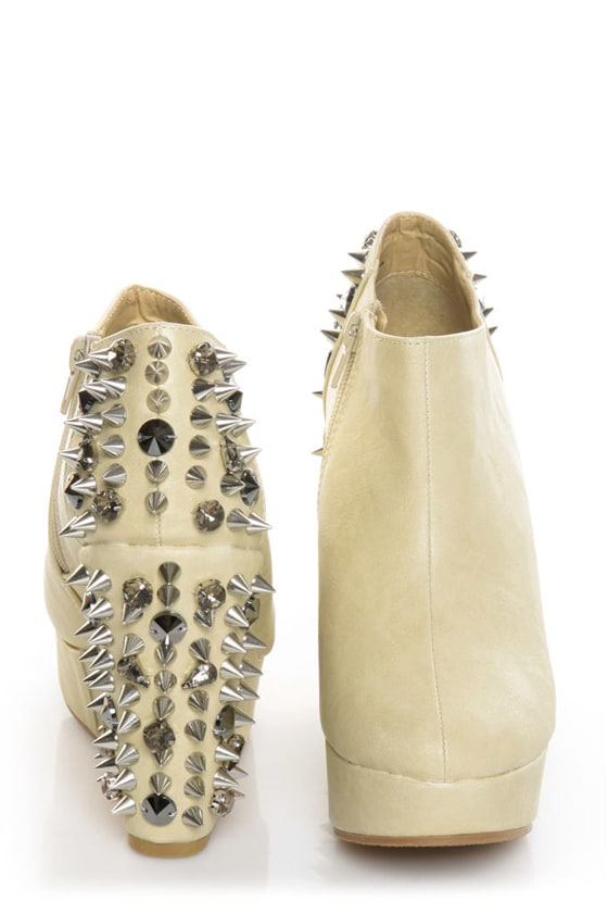 Privileged Heartbreaker Nude Spiked & Stoned Wedge Booties