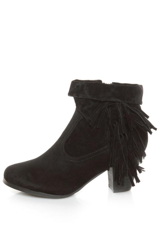 Privileged Jax Black Fold-over Fringe Ankle Boots