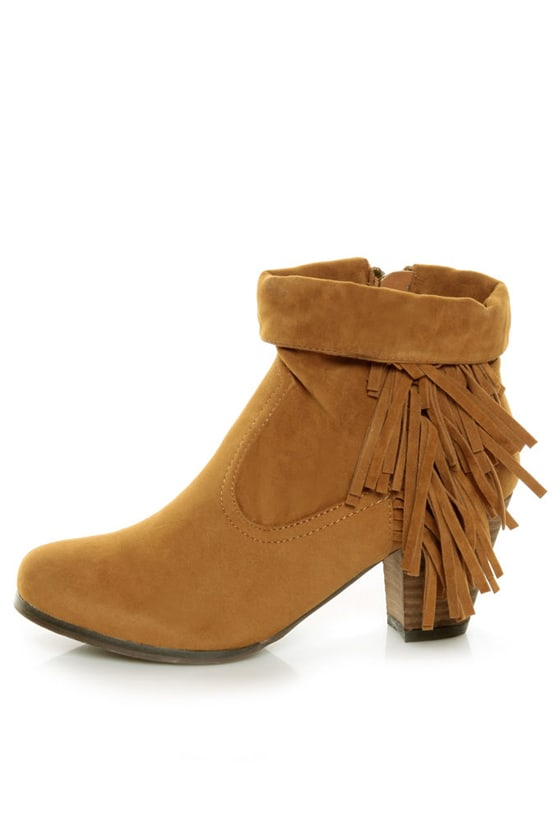 Privileged Jax Tan Fold-over Fringe Ankle Boots - $58.00
