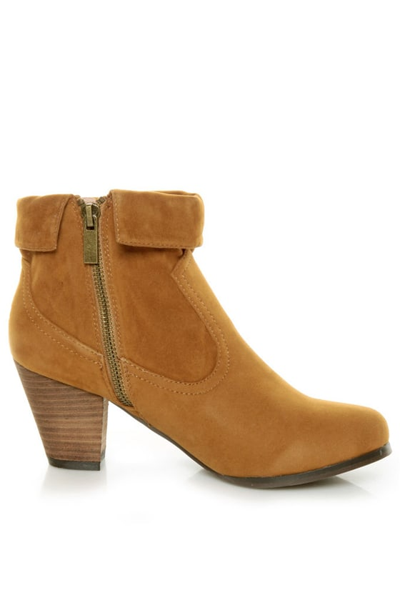 Privileged Jax Tan Fold-over Fringe Ankle Boots