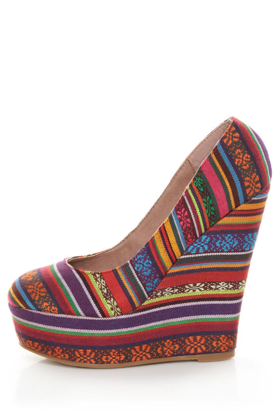 Privileged Kimmy Multi Guatemala Stripe Platform Wedges at Lulus.com!
