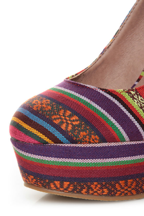 Privileged Kimmy Multi Guatemala Stripe Platform Wedges