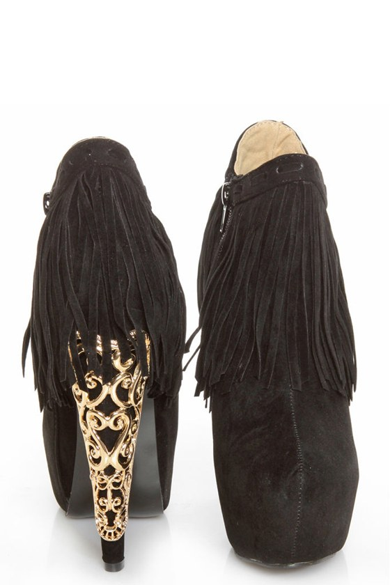 Privileged Lolla Black Fringe and Filigree Platform Booties