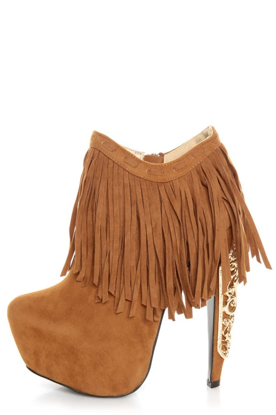Privileged Lolla Chestnut Fringe and Filigree Platform Booties at Lulus.com!