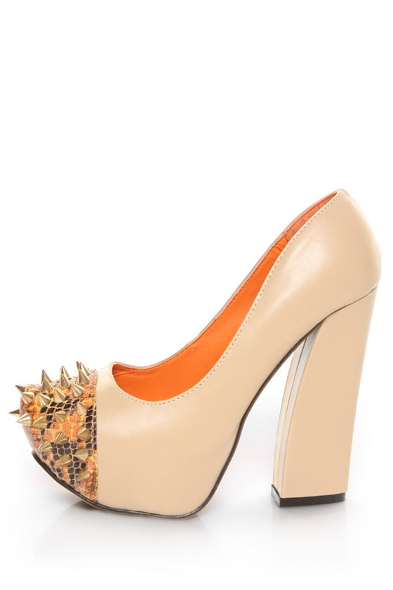 Privileged Lux Beige Spiked Cap-Toe Platform Heels at Lulus.com!