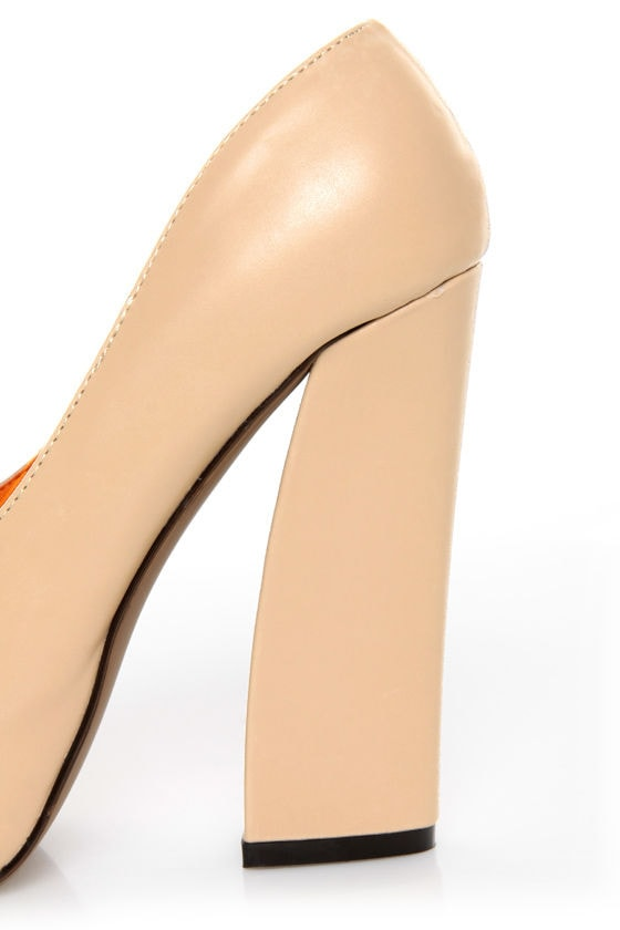 Privileged Lux Beige Spiked Cap-Toe Platform Heels