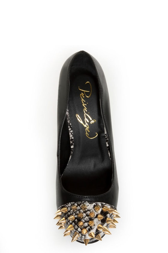 Privileged Lux Black Spiked Cap-Toe Platform Heels